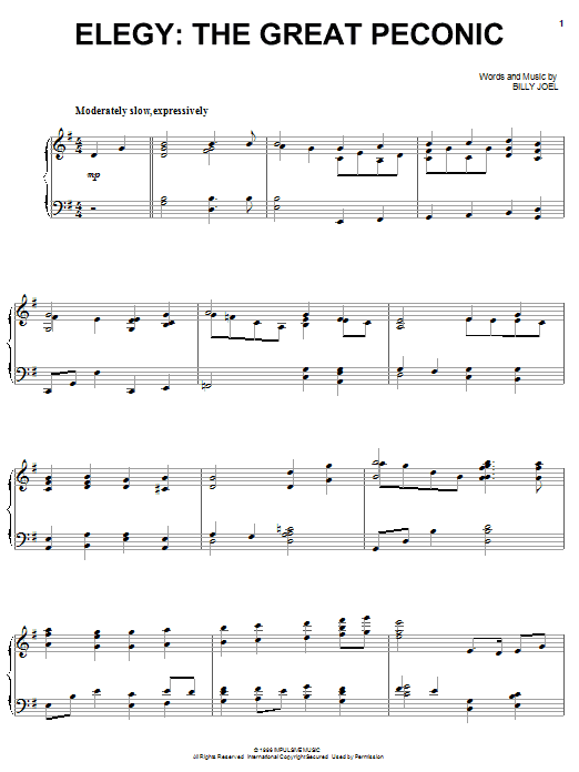 Billy Joel The Great Peconic sheet music notes and chords. Download Printable PDF.