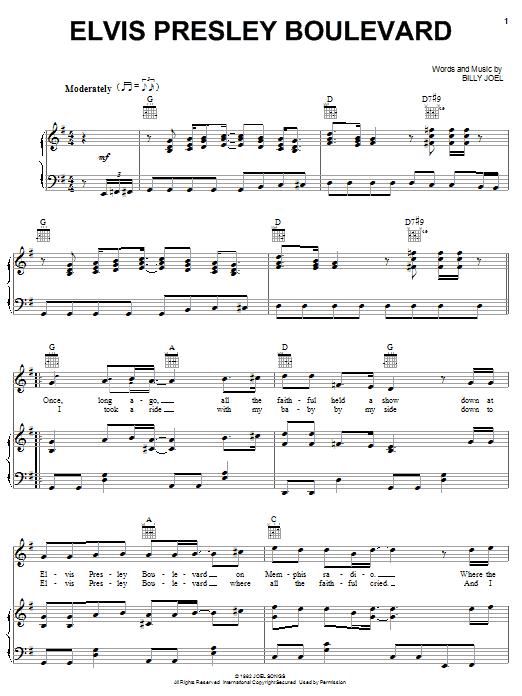 Billy Joel Elvis Presley Boulevard sheet music notes and chords. Download Printable PDF.