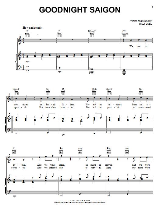 Billy Joel Goodnight Saigon sheet music notes and chords. Download Printable PDF.