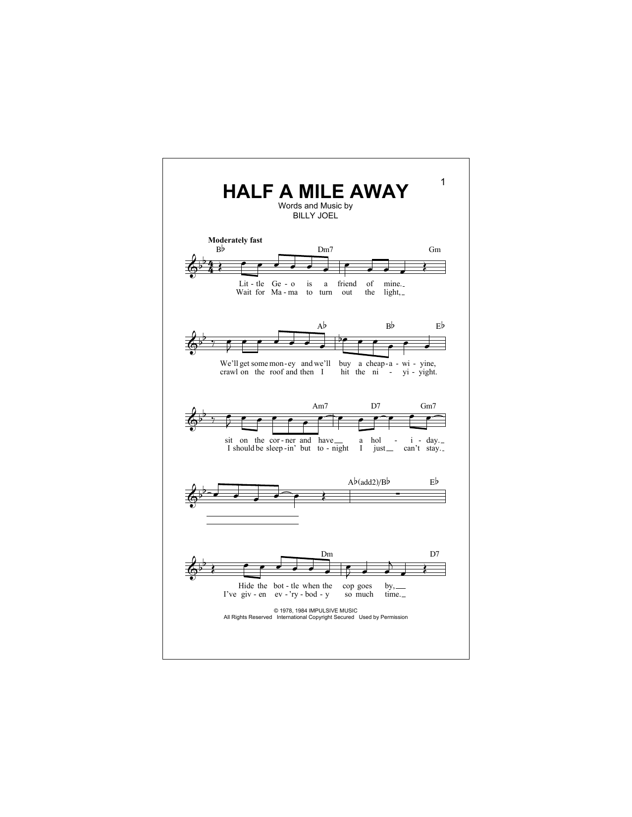 Billy Joel Half A Mile Away sheet music notes and chords. Download Printable PDF.