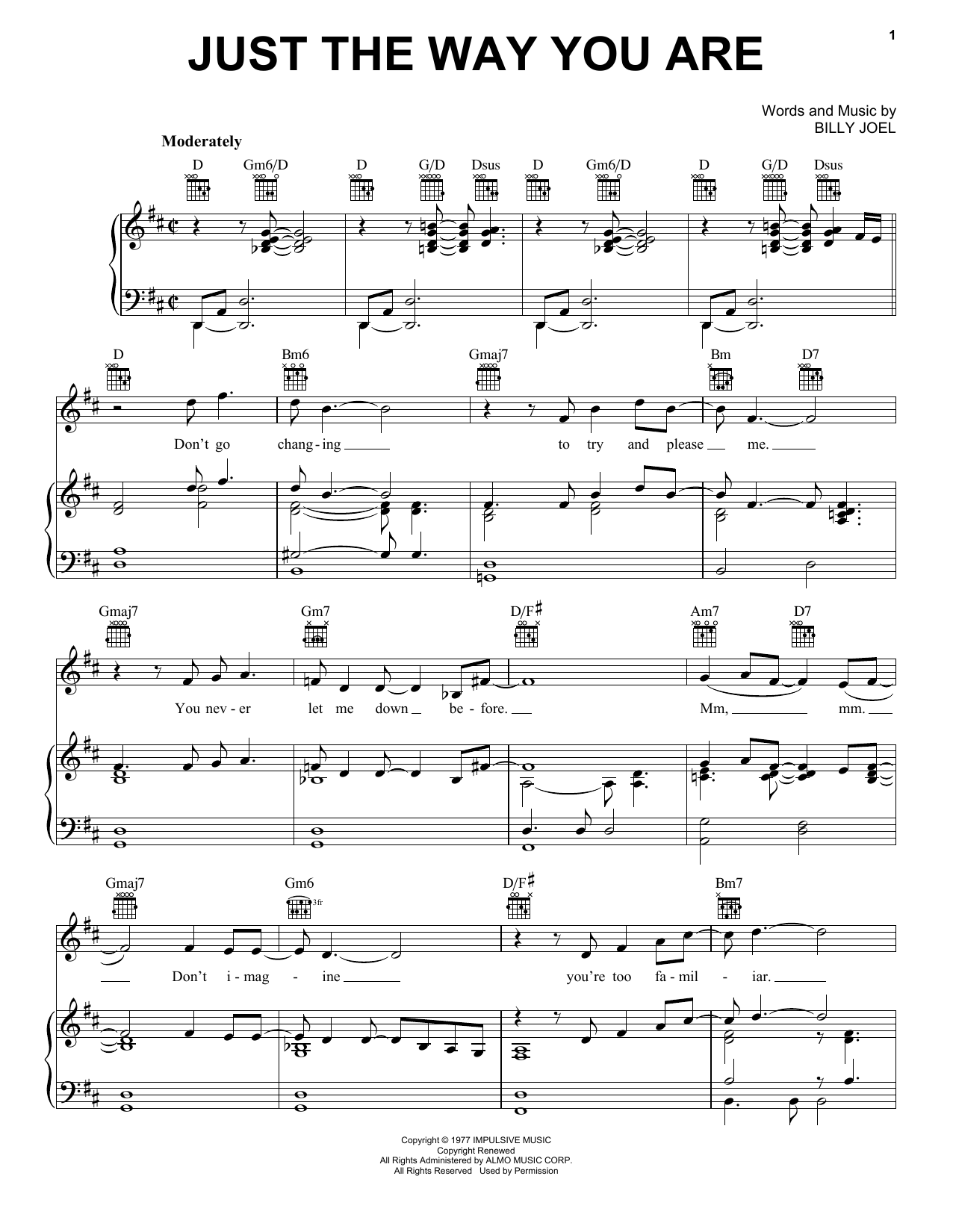 Billy Joel Just The Way You Are sheet music notes and chords. Download Printable PDF.