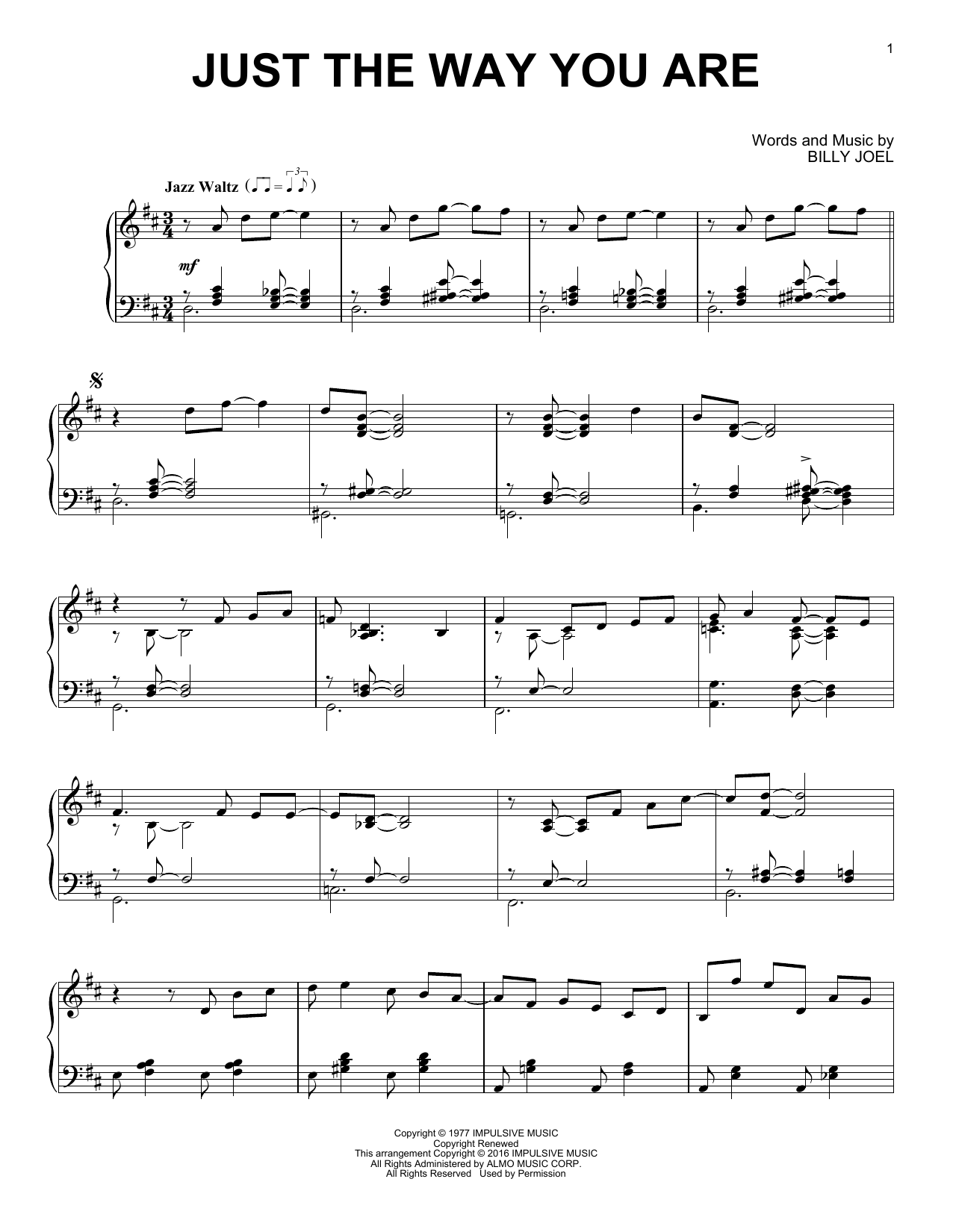 Billy Joel Just The Way You Are [Jazz version] sheet music notes and chords. Download Printable PDF.