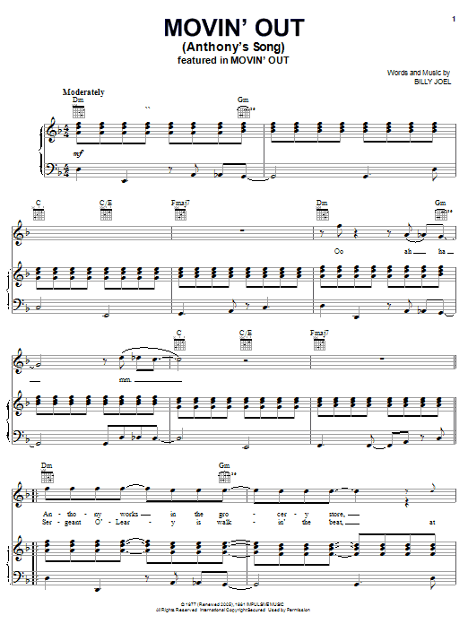 Billy Joel Movin' Out (Anthony's Song) sheet music notes and chords. Download Printable PDF.