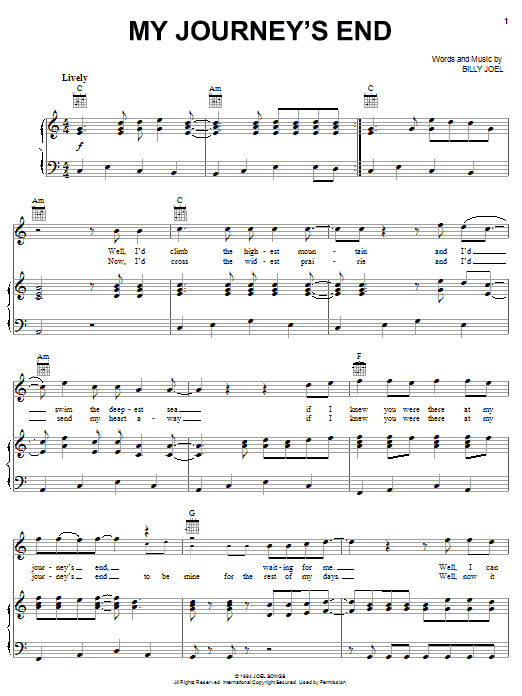 Billy Joel My Journey's End sheet music notes and chords. Download Printable PDF.