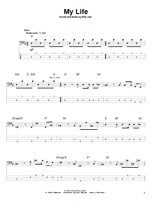 Billy Joel 'My Life' Sheet Music Notes, Chords | Download Printable Piano  Solo - SKU: 164354