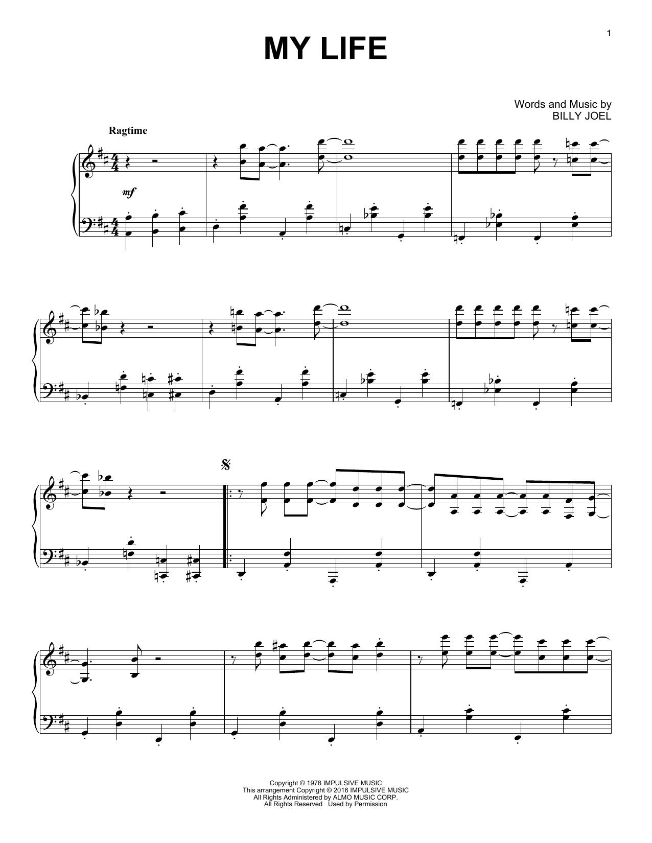 Billy Joel My Life [Jazz version] sheet music notes and chords. Download Printable PDF.
