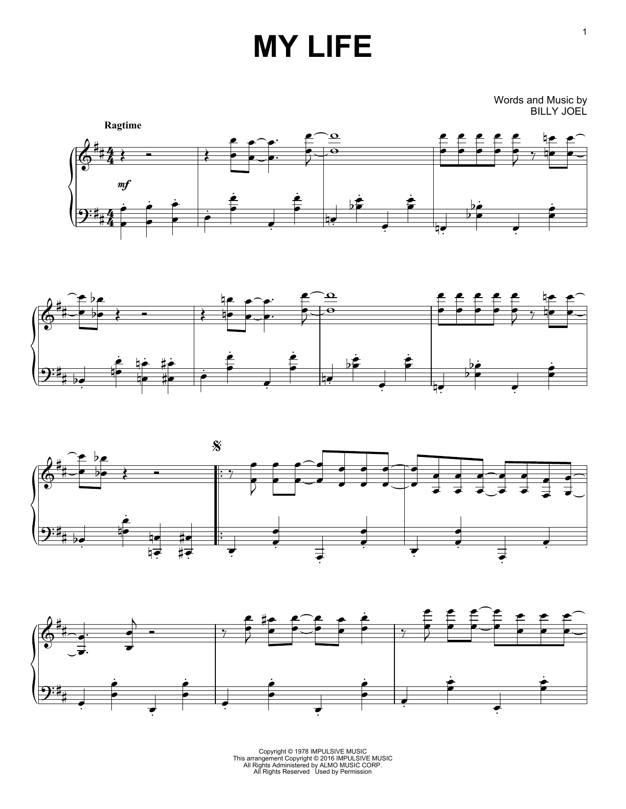 Billy Joel My Life [Jazz version] sheet music notes and chords. Download Printable PDF.