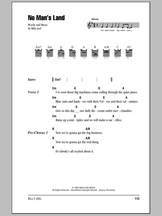Billy Joel No Man's Land sheet music notes and chords. Download Printable PDF.
