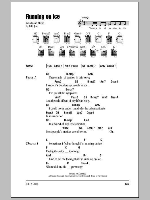 Billy Joel Running On Ice sheet music notes and chords. Download Printable PDF.