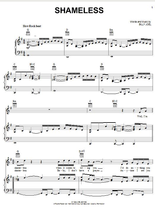 Billy Joel Shameless sheet music notes and chords. Download Printable PDF.