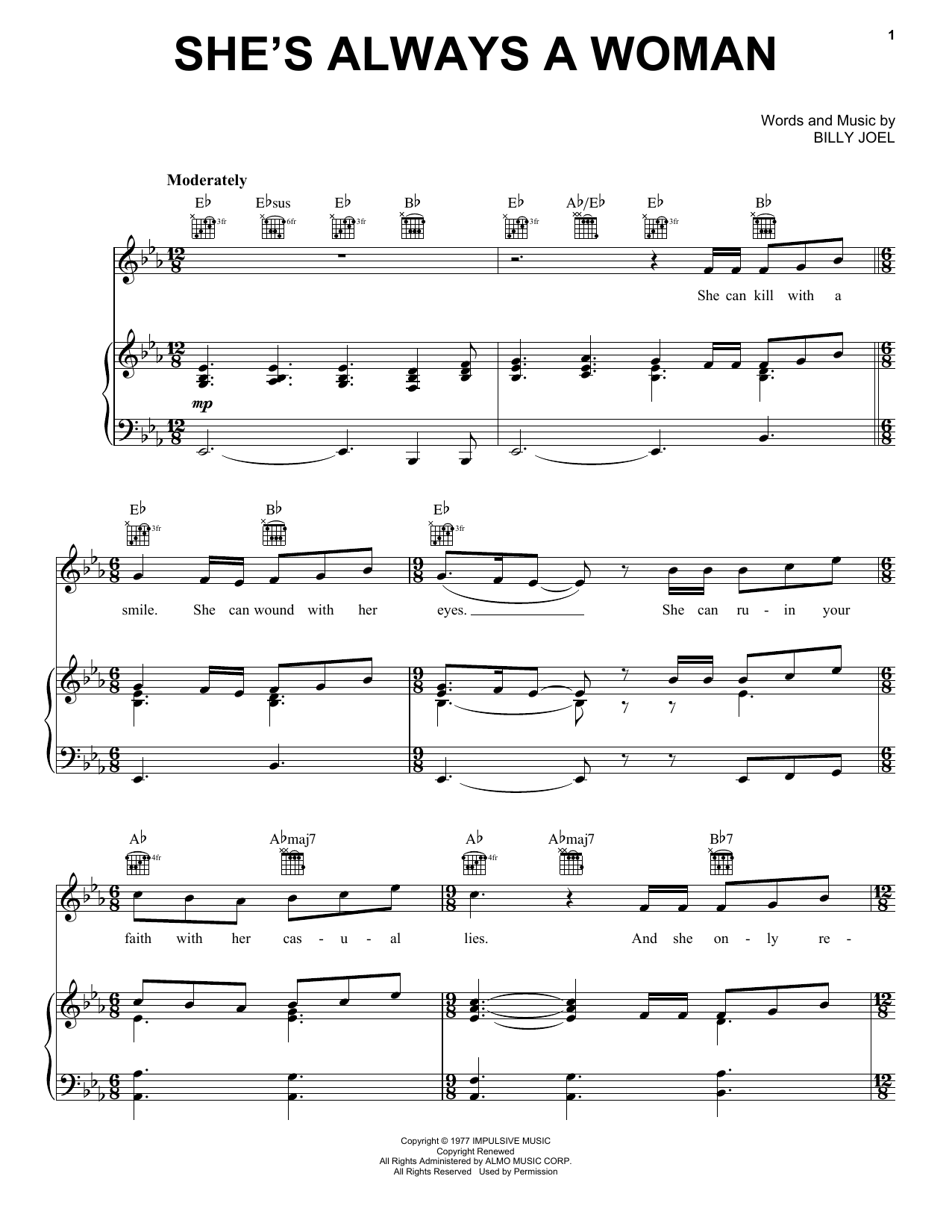 Billy Joel She's Always A Woman sheet music notes and chords. Download Printable PDF.