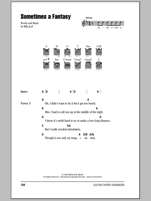 Billy Joel Sometimes A Fantasy sheet music notes and chords. Download Printable PDF.