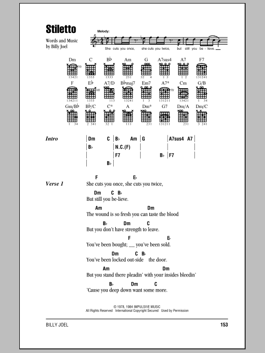 Billy Joel Stiletto sheet music notes and chords. Download Printable PDF.