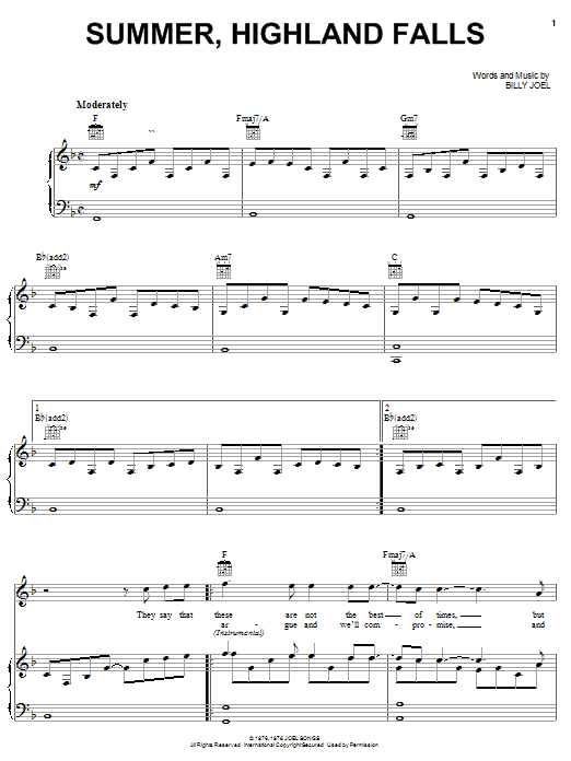 Billy Joel Summer, Highland Falls sheet music notes and chords. Download Printable PDF.