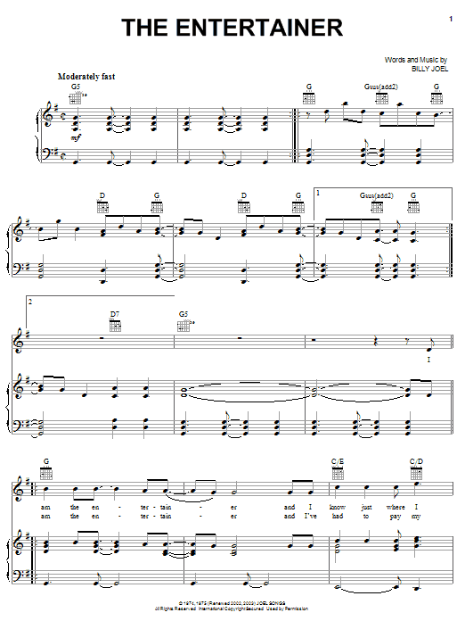 Billy Joel The Entertainer sheet music notes and chords. Download Printable PDF.