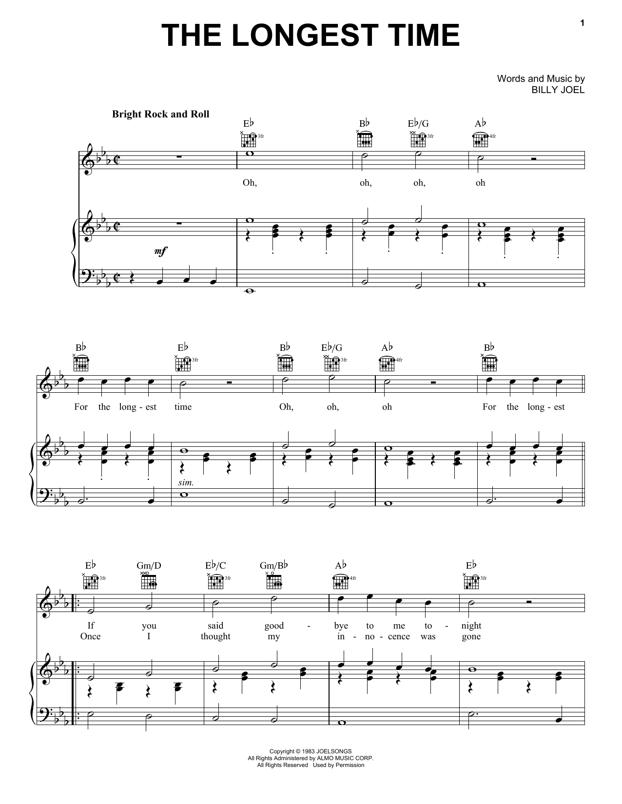 Billy Joel The Longest Time sheet music notes and chords