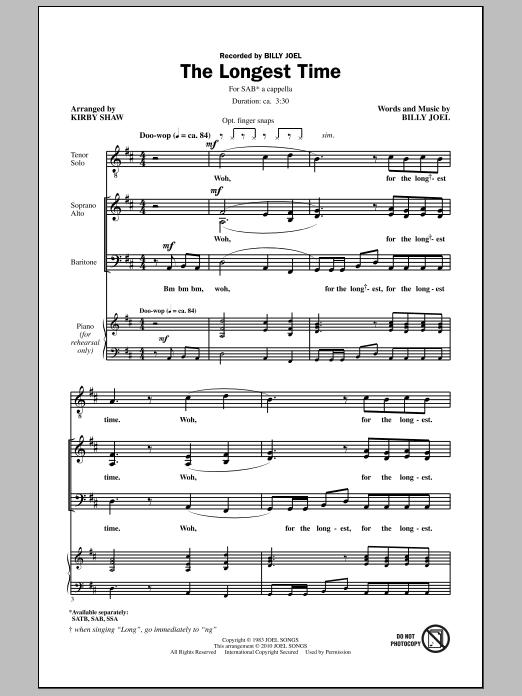 Kirby Shaw The Longest Time (SAB with Tenor Solo) sheet music notes and chords. Download Printable PDF.