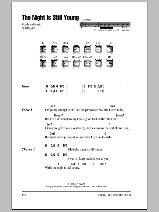 Billy Joel The Night Is Still Young sheet music notes and chords. Download Printable PDF.
