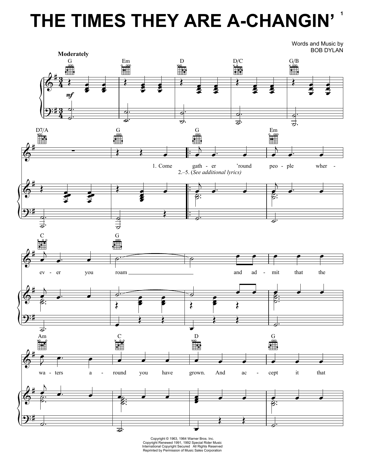 Billy Joel The Times They Are A Changin' Sheet Music Notes, Chords    Download Printable Piano, Vocal & Guitar Right Hand Melody PDF Score    SKU ...