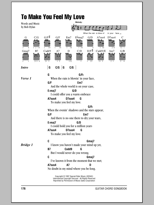 Billy Joel To Make You Feel My Love sheet music notes and chords