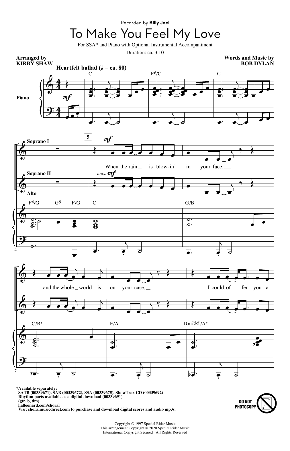 Billy Joel To Make You Feel My Love (arr. Kirby Shaw) sheet music notes and chords. Download Printable PDF.