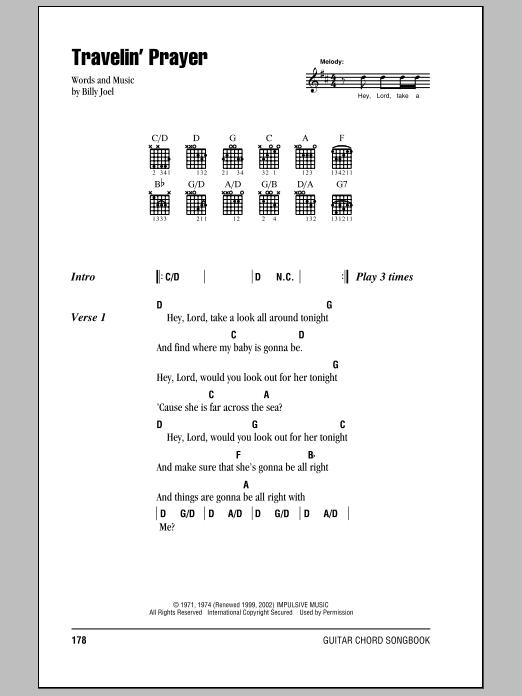 Billy Joel Travelin' Prayer sheet music notes and chords. Download Printable PDF.
