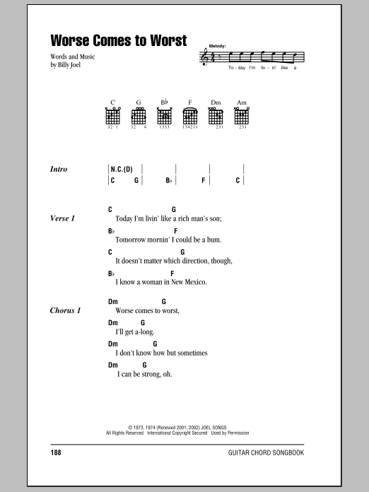 Billy Joel Worse Comes To Worst sheet music notes and chords. Download Printable PDF.