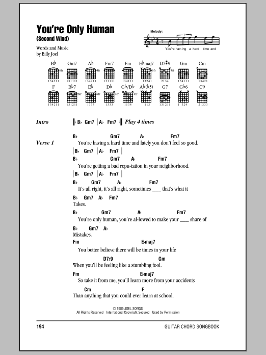 Billy Joel You're Only Human (Second Wind) sheet music notes and chords. Download Printable PDF.