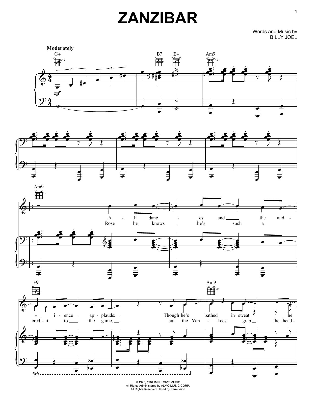 Billy Joel Zanzibar sheet music notes and chords. Download Printable PDF.