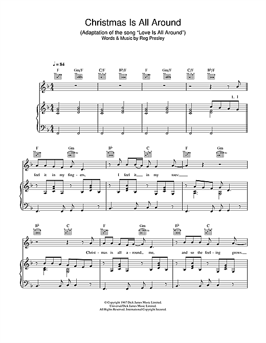 Billy Mack Christmas Is All Around sheet music notes and chords