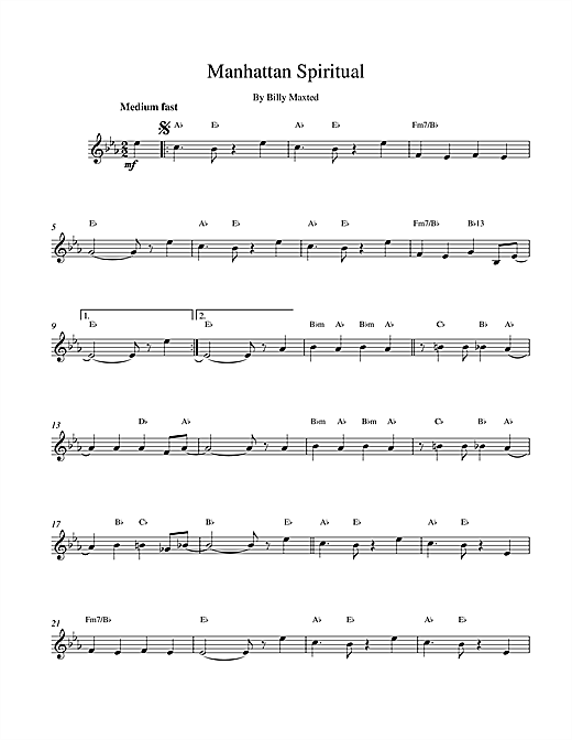 Billy Maxted Manhattan Spiritual sheet music notes and chords. Download Printable PDF.