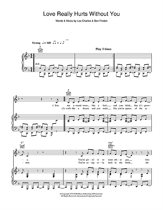 Billy Ocean Love Really Hurts Without You sheet music notes and chords. Download Printable PDF.
