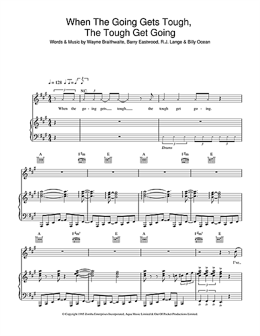 Billy Ocean When The Going Gets Tough, The Tough Get Going sheet music notes and chords. Download Printable PDF.