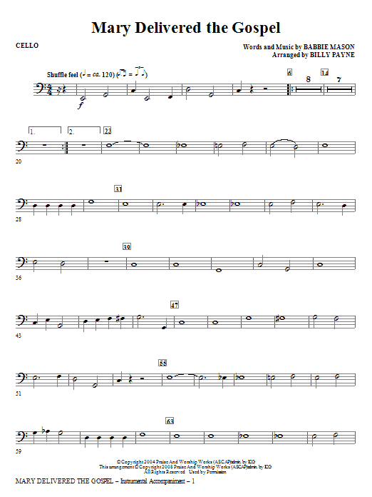 Billy Payne Mary Delivered The Gospel - Cello sheet music notes and chords. Download Printable PDF.