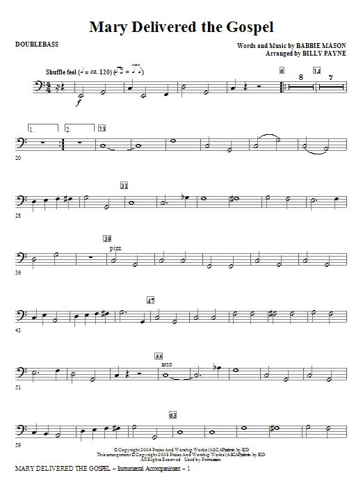 Billy Payne Mary Delivered The Gospel - Double Bass sheet music notes and chords. Download Printable PDF.