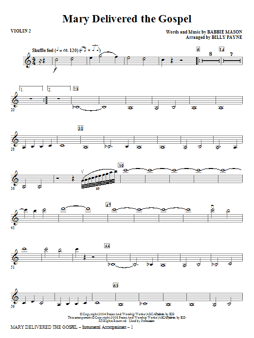 Billy Payne Mary Delivered The Gospel - Violin 2 sheet music notes and chords. Download Printable PDF.