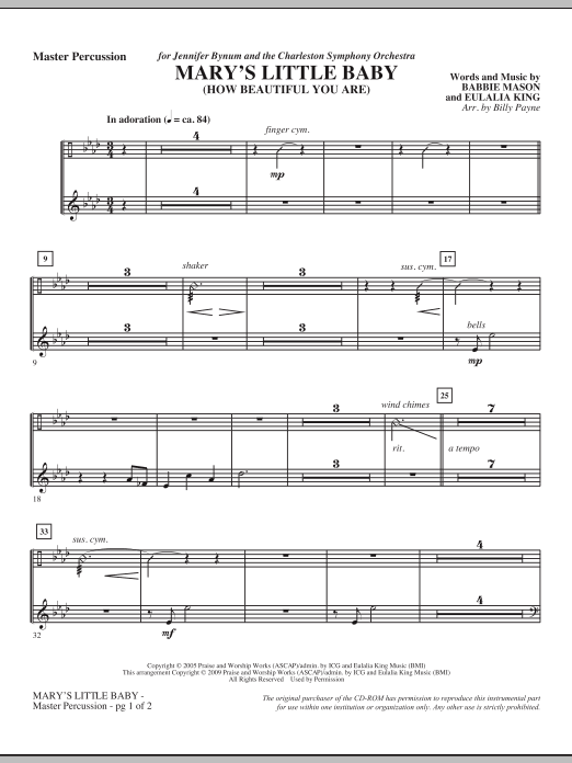 Billy Payne Mary's Little Baby - Percussion sheet music notes and chords. Download Printable PDF.