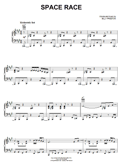 Billy Preston Space Race sheet music notes and chords