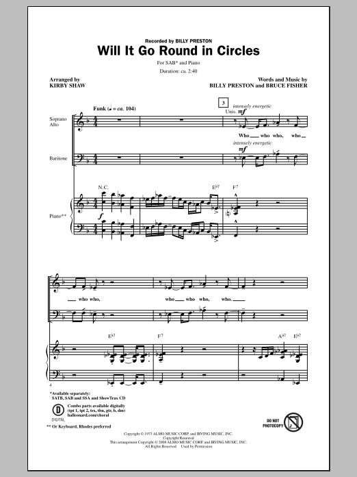 Billy Preston Will It Go Round In Circles (arr. Kirby Shaw) sheet music notes and chords. Download Printable PDF.