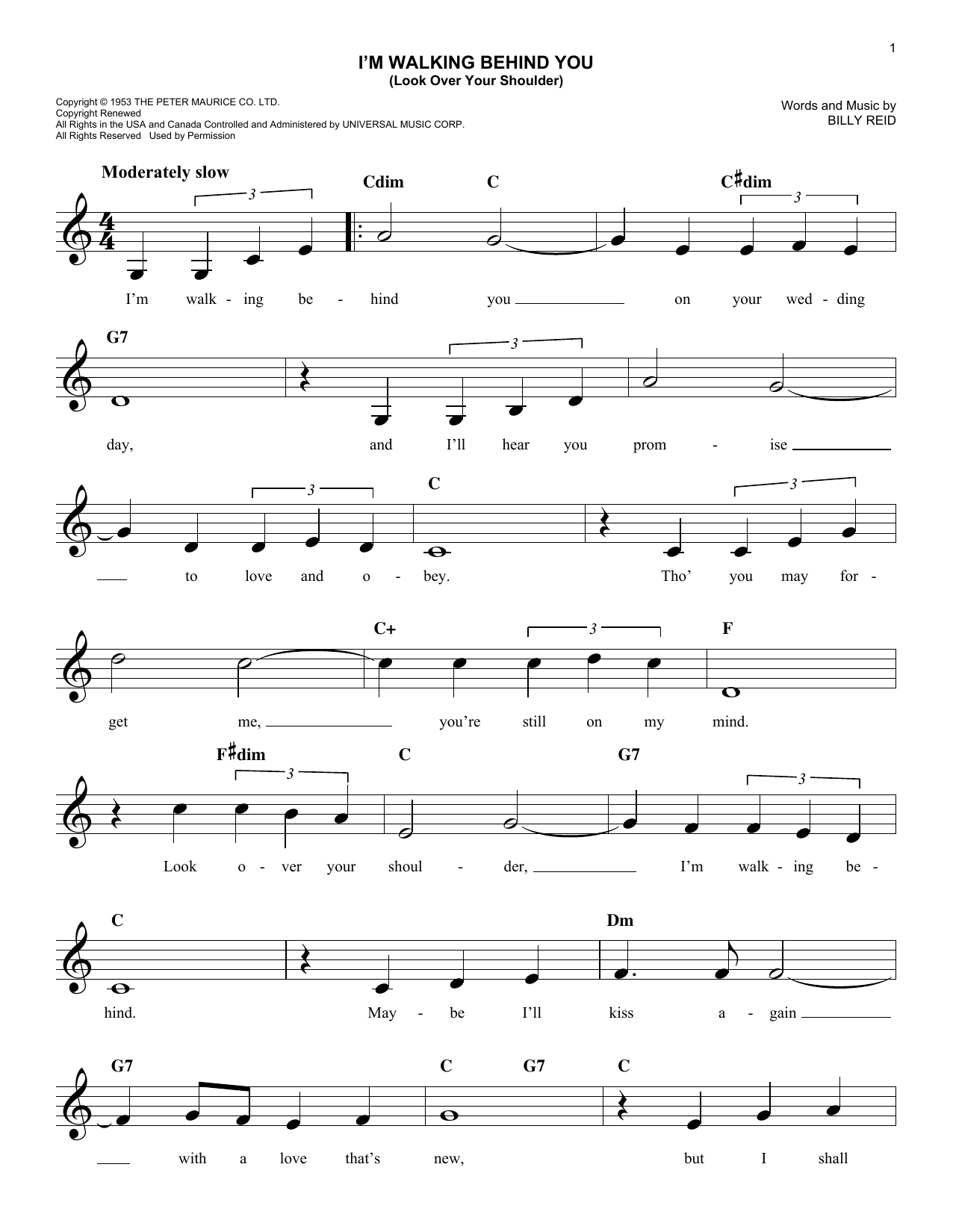 Billy Reid I'm Walking Behind You (Look Over Your Shoulder) sheet music notes and chords. Download Printable PDF.