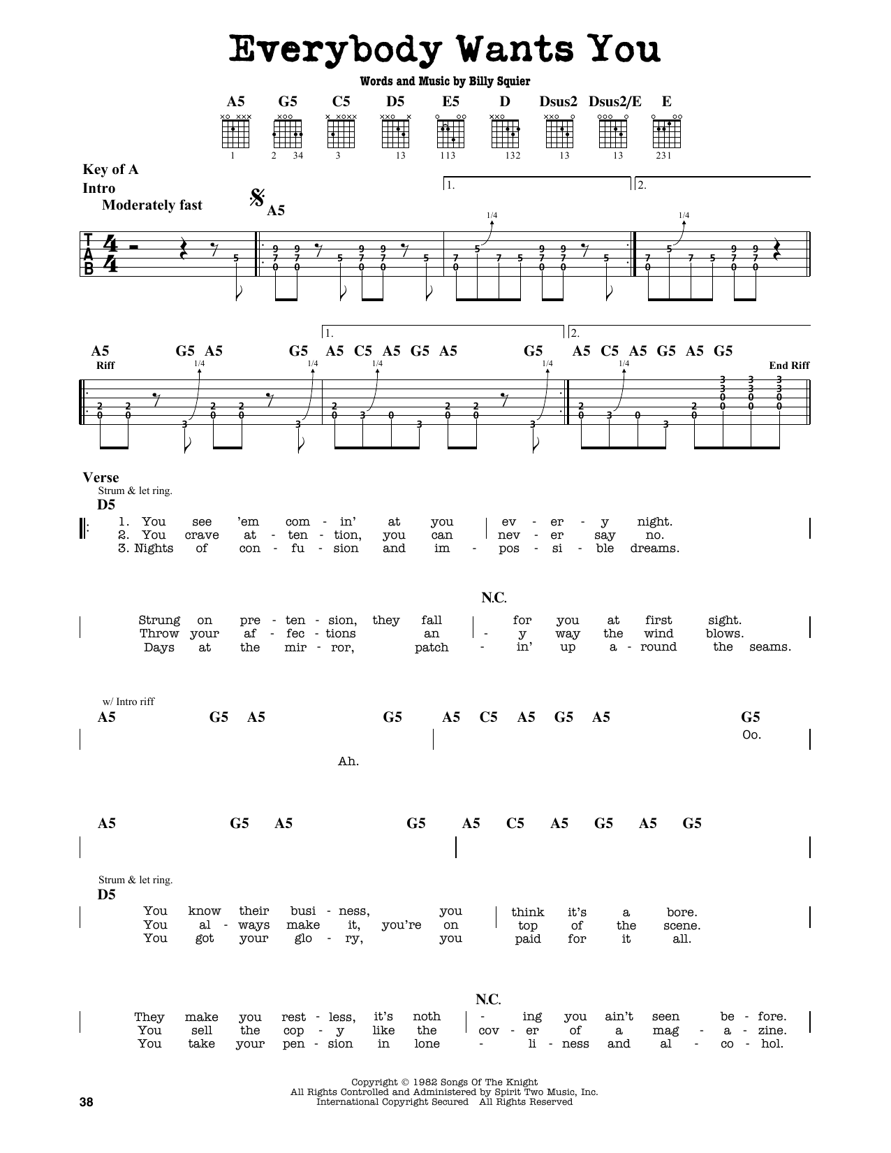 Billy Squier Everybody Wants You sheet music notes and chords. Download Printable PDF.