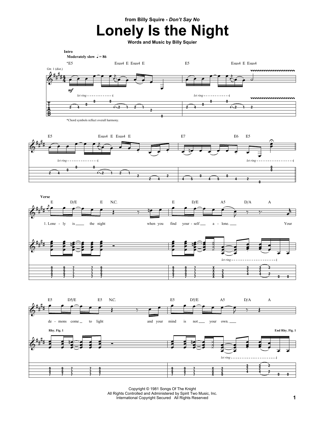Billy Squier Lonely Is The Night sheet music notes and chords. Download Printable PDF.