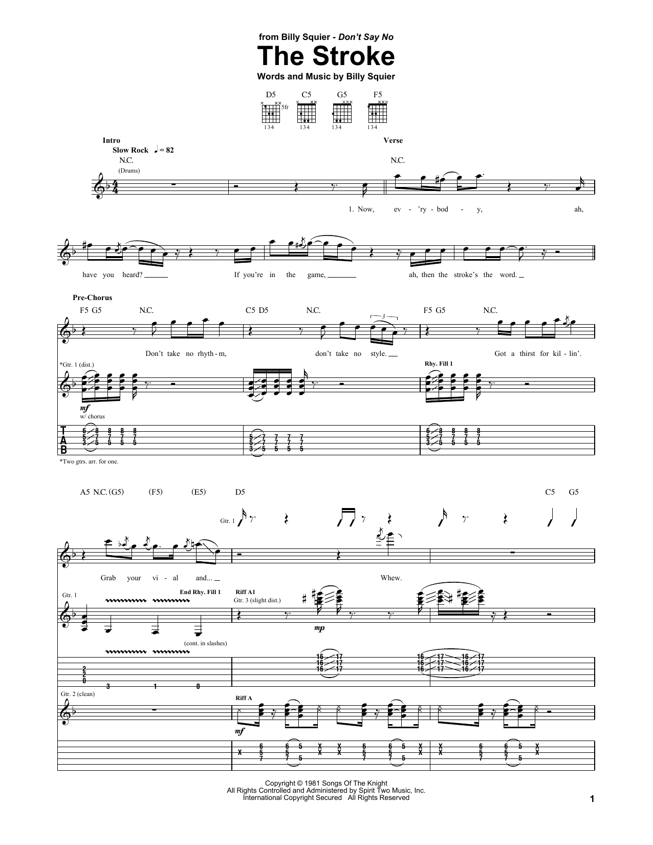 Billy Squier The Stroke sheet music notes and chords. Download Printable PDF.