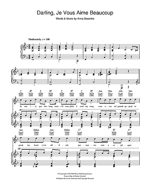 Bing Crosby Darling Je Vous Aime Beaucoup sheet music notes and chords. Download Printable PDF.