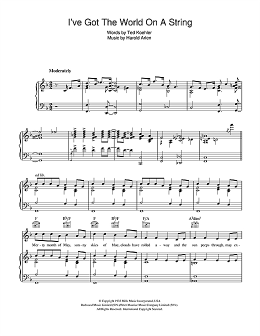 Bing Crosby I've Got The World On A String sheet music notes and chords. Download Printable PDF.