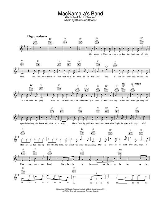Bing Crosby MacNamara's Band sheet music notes and chords. Download Printable PDF.