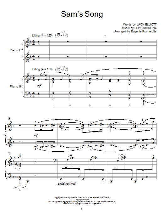 Bing Crosby Sam's Song sheet music notes and chords