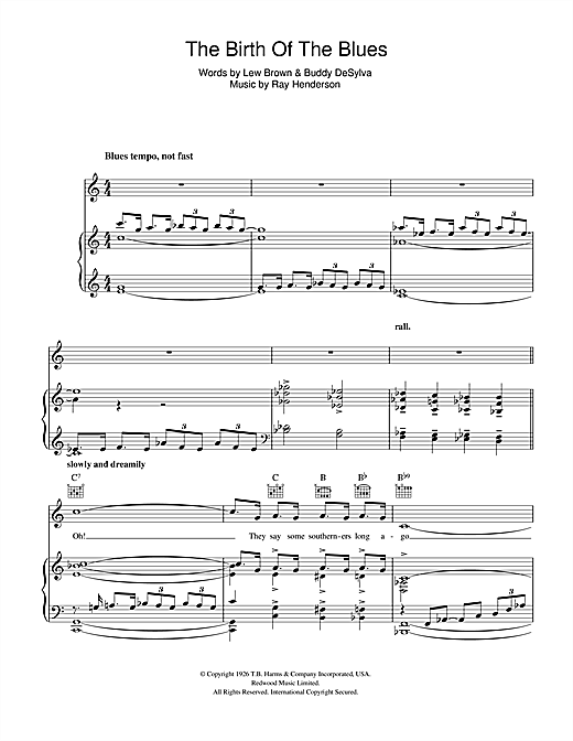 Bing Crosby The Birth Of The Blues sheet music notes and chords. Download Printable PDF.