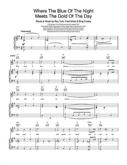 Bing Crosby Where The Blue Of The Night Meets The Gold Of The Day sheet music notes and chords