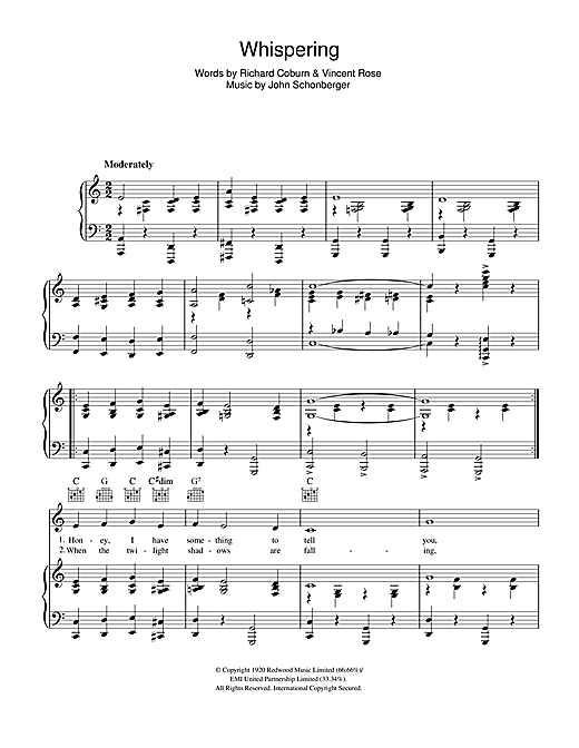 Bing Crosby Whispering sheet music notes and chords. Download Printable PDF.